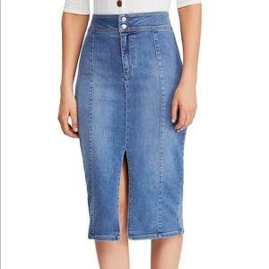 Free People Maddie Denim Midi Skirt NWT